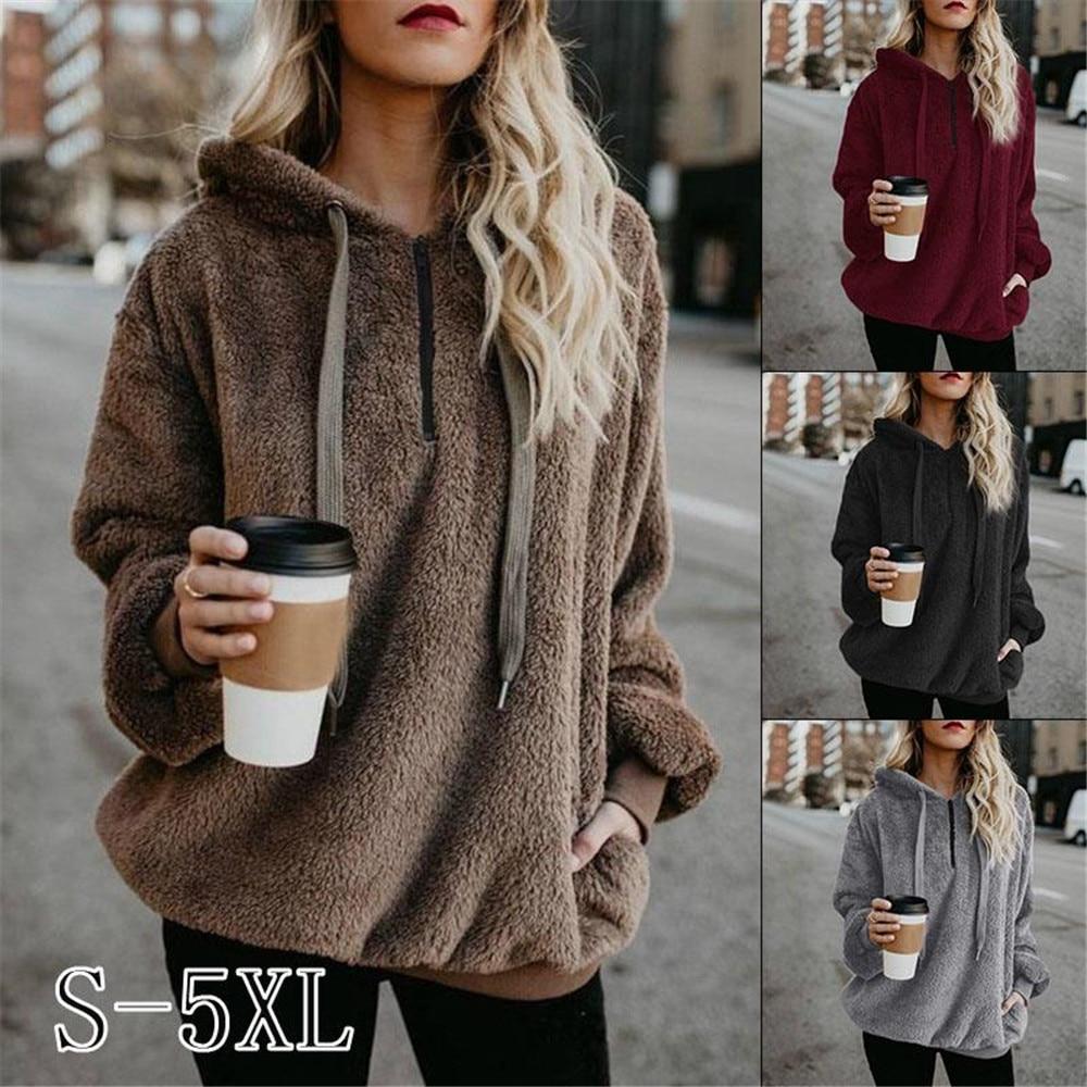 Women Fleece Hoodies Winter Casual Solid Loose Hooded Plush Sweatshirt Warm Velvet Pocket Zipper Female Fluffy Pullover