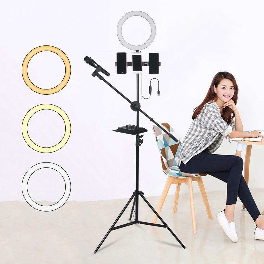 26cm 10 inch Selfie LED Ring Light with Cell Phone Holder Microphone Holder for Youtube Live Stream Makeup Selfie Lighting