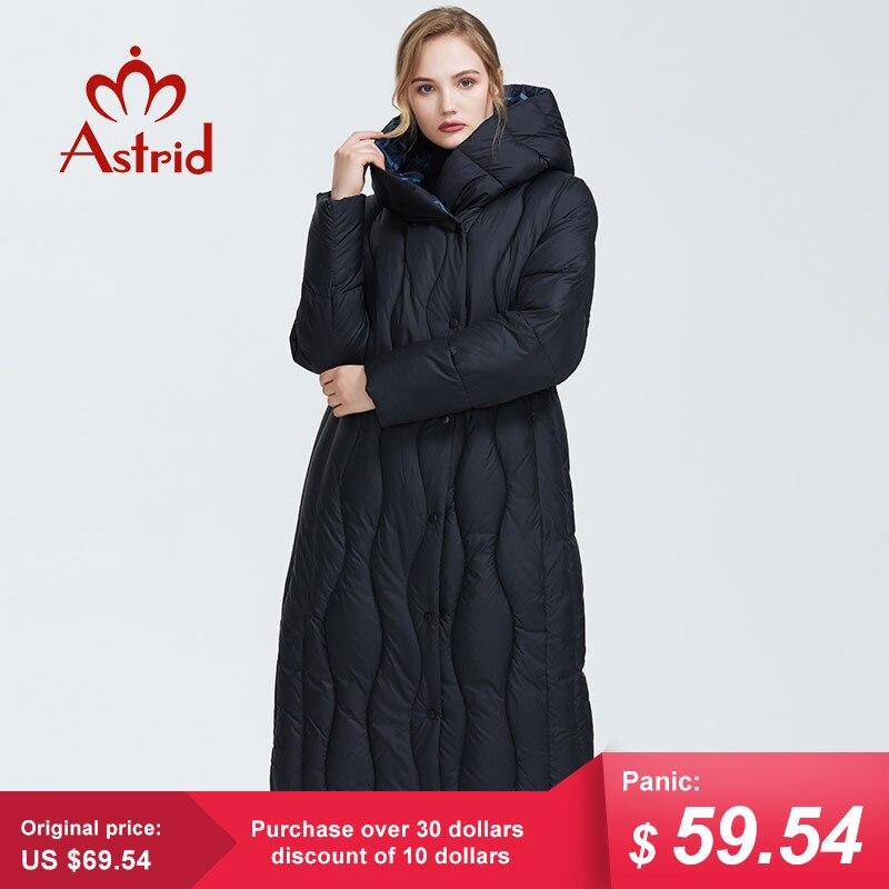 Astrid 2019 겨울 새로운 도착 다운 재킷 여성 느슨한 의류 겉옷 품질 블루 컬러 두꺼운 면화 겨울 코트 AR 7051-에서파카부터 여성 의류 의  그룹 1