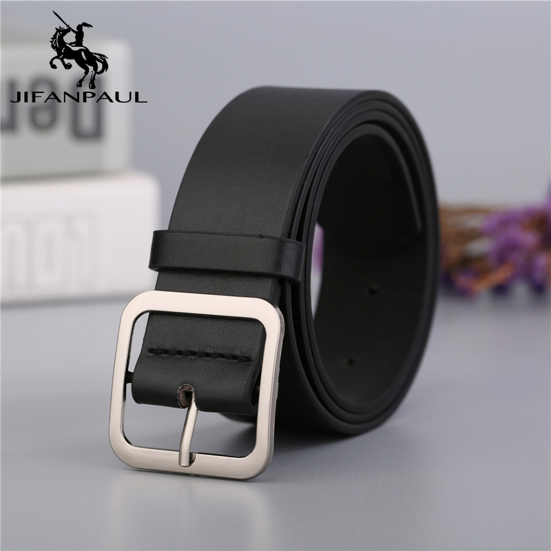 JIFANPAUL Genuine Leather Alloy Metal Square Buckle Women's BeltCasual Jeans Wild Style Student Youth Fashion Accessories New