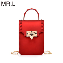 MR.L Fashion Jelly Crossbody Bags for Women Messenger Bags Chain Strap Shoulder Bag Lady Rivet Small Flap criss-cross Bag стоимость