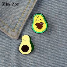 Liefde U ~ Avocado Emaille Pin Custom Fruit Broches Shirt Revers Zak Cartoon Badge Sieraden Cadeau Voor Kinderen Vrienden(China)