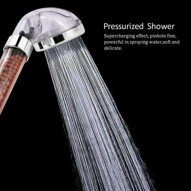 Bathroom 3 Function Adjustable Jetting Shower Head High Pressure Water Saving Anion Stone Filter SPA Shower Head