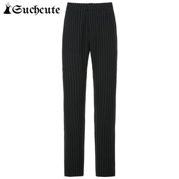 SUCHCUTE Striped Pants For Women Y2K Fashion Gothic High Waist Straight Pants Streetwear Fashion Outfits Korean Style Trouser 7