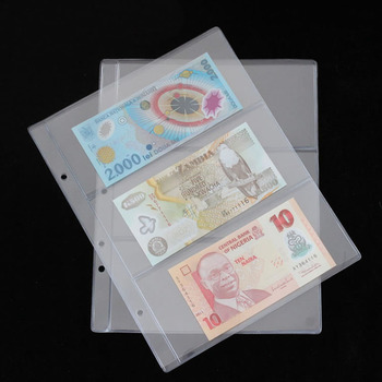 1 Album Pages 3 Pockets Money Bill Note Currency Holder PVC Collection 180x80mm Q84D image