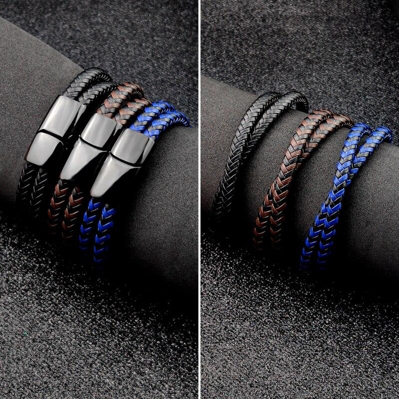 Bracelet en cuir tressé noir/marron/bleu/café, breloque Punk, nom personnalisé, gravé en acier inoxydable pour hommes et femmes, bijoux