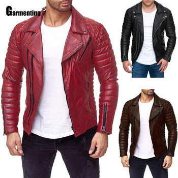 Garmenting Mens Pu Leather Jacket Trend 2020 Autumn Motorcycle Jackets Multi Zipper Faux Outerwear Red Black Men Clothes