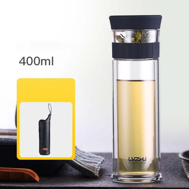 400ML Business Type Water Bottle Glass Bottle with Stainless Steel Tea Infuser Filter Double Wall Glass Sport Water Tumbler 35 3