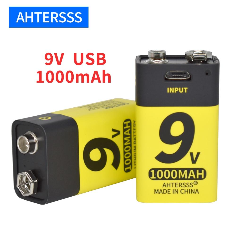 Литий-ионные аккумуляторы 6f22 9 В с usb, для мультиметра, дымовой сигнализации, металлоискателя и т. Д.