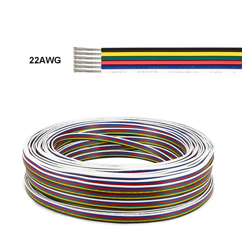 5m 6 pinos cabo sm jst rgbw led conector cabo 0 3mm 6 nucleo fios de