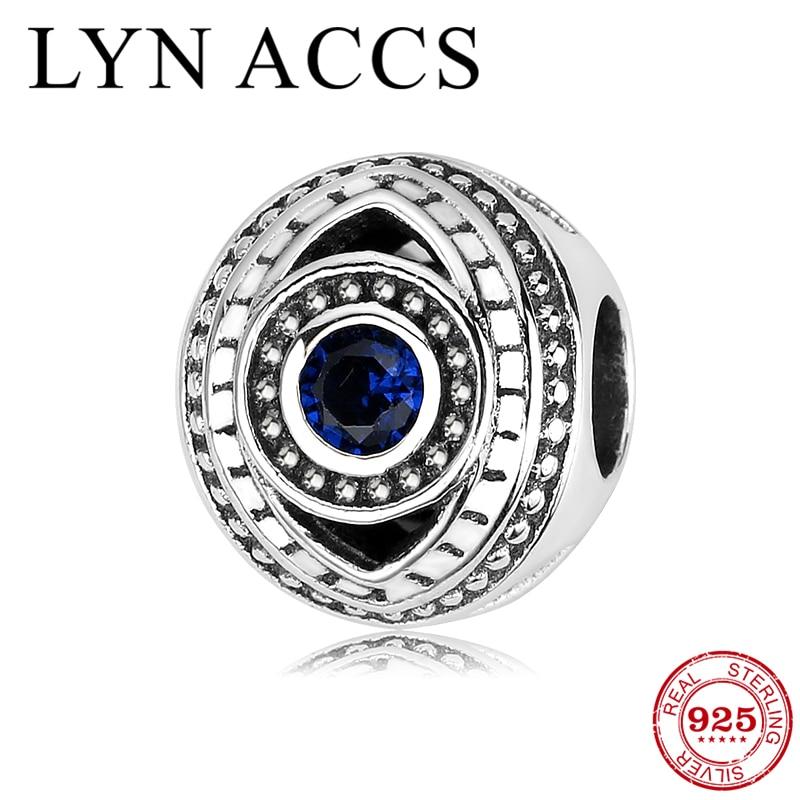 New Authentic 925 Sterling Silver Blue Evil Eye Clear CZ Charm fit DIY Bracelet