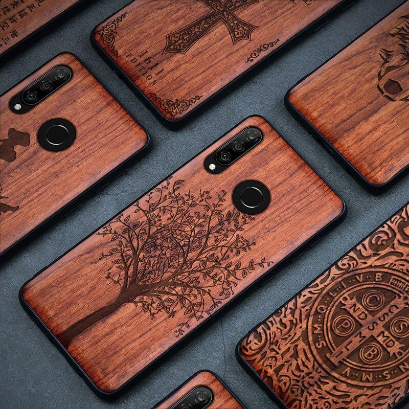 Caso de madeira para huawei p20 30 mate 10 20 30 lite pro nova 4 5 100% de madeira natural tpu telefone caso para huawei honra 10 20 8x max 9x