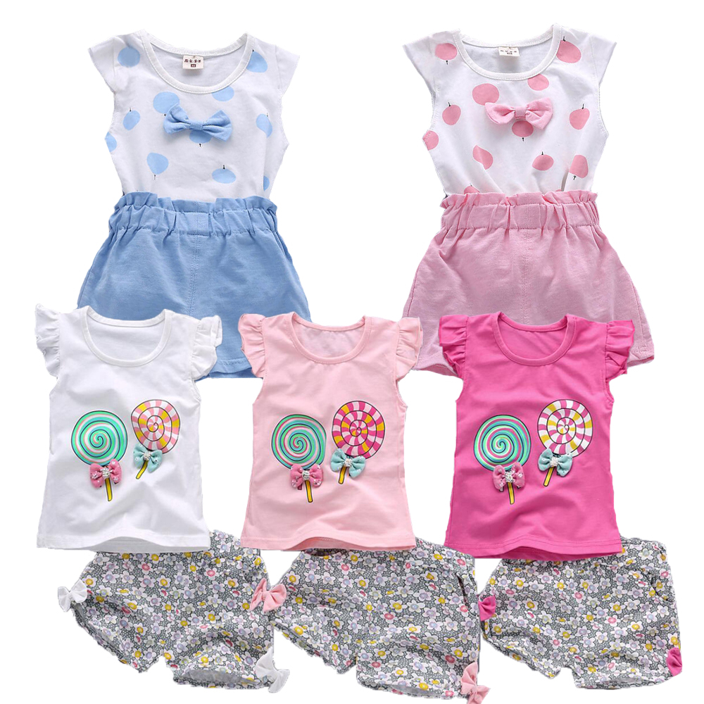 Kids Girls Summer Tank Outfits 6m 12m 2T 3T Toddler Kids Baby Girls Outfits Cotton Cool Tee+Shorts Pants Clothes Set Cute