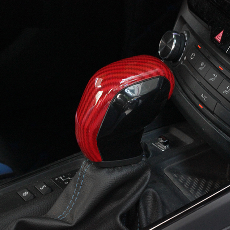 Carbon Fiber Car Gear Head Shift Knob Protection Cover Trim Stickers Fit For Peugeot 308 308S 408 AT Accessories