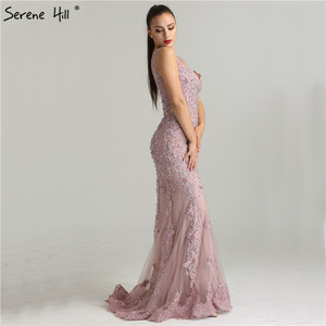 Image 3 - Serene Hill Pink Sexy Elegant Evening Dress 2020 Lace Pearls Diamond Mermaid Formal Party Gown Real Photo CLA6355