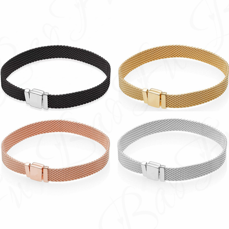Baofu New Original 925 Sterling Silver Bracelet With 4 Colors Of Mesh...