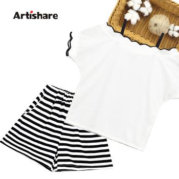Letnie ubrania dla dzieci dziewczyny solidna koszulka + krótka w paski odzież dla nastoletnich dziewcząt 2020 dziewczęce zestawy Casual zestaw ubrań dla dzieci tanie i dobre opinie Artishare Na co dzień Plac collar Swetry 0384725 COTTON Poliester Krótki REGULAR Pasuje prawda na wymiar weź swój normalny rozmiar