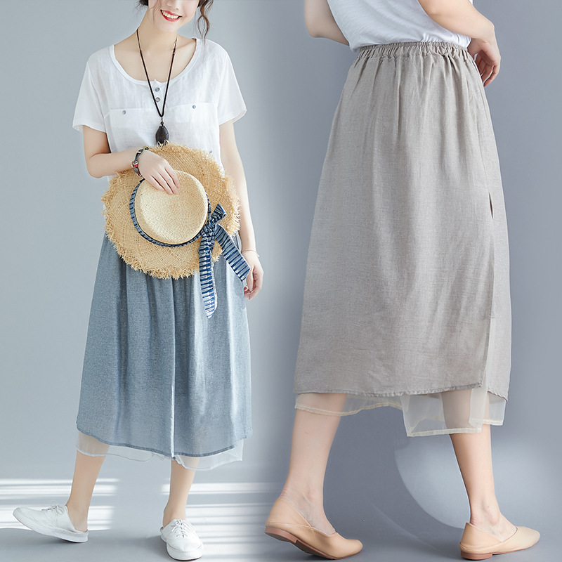 SC Photo Shoot 2019 Summer Cotton Linen Retro WOMEN'S Pants Skirt-Style Korean-style WOMEN'S Pants Skirt Large Size WOMEN'S Pant