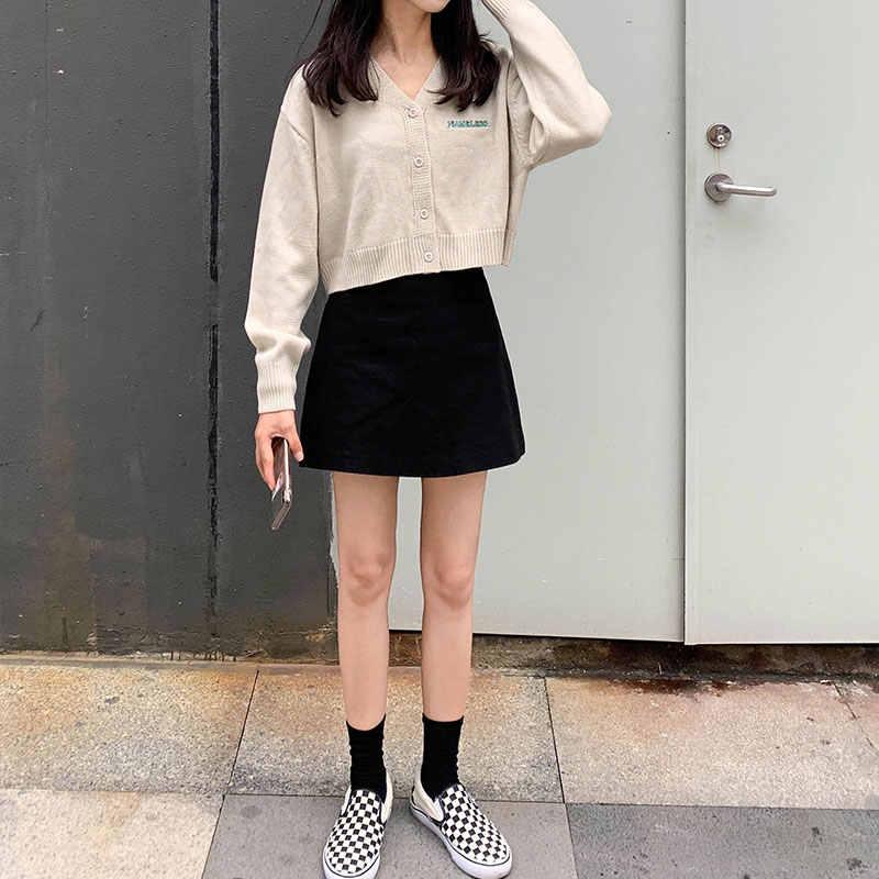 3 renk kore tarzı kadın İlkbahar sonbahar v boyun kısa hırka kazak ceket kadın dış giyim uzun kollu örme üstleri (x1114