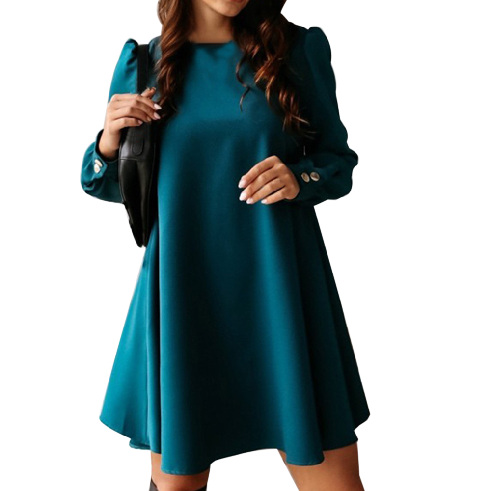 MoneRffi 2020 Women Long Sleeve Single-breasted Mini Dress Spring O-neck Metal Buttons Party Dress Solid Plus Size A-Line Dress
