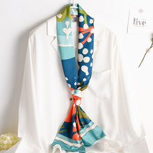 Neck-Scarf Shawls Bandana Foulard Hijab Kerchief Silk Wraps Print Fashion Women New Small