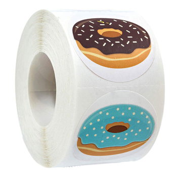 500 Stickers per roll Stylish Donut Delicious Looking 8 Designs Handmade white labels stickers for Cake bread baking