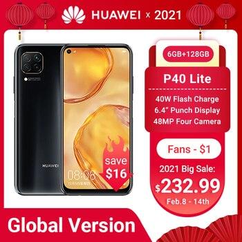 """Huawei p40 lite smartphone versão global 6gb 128gb 48mp ai quard câmera 6.4 """"tela fhd kirin 810 octa núcleo 40w carregamento rápido 1"""