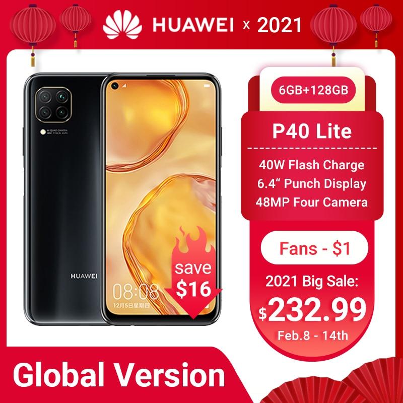 HUAWEI P40 Lite Smartphone küresel sürüm 6GB 128GB 48MP AI dört kamera 6.4