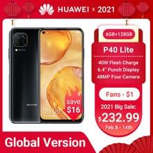 HUAWEI-teléfono inteligente P40 Lite, versión Global, 6GB, 128GB, cámara de 48MP, pantalla FHD de 6,4 pulgadas, Kirin 810, Octa Core, 40W, carga rápida