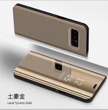 Smart Leder View Case Für Samsung Galaxy S8 S7 Rand S6 S6edge Spiegel Flip Stand Abdeckung Für Samsung S 8 7 6 rand Plus Fall Coque