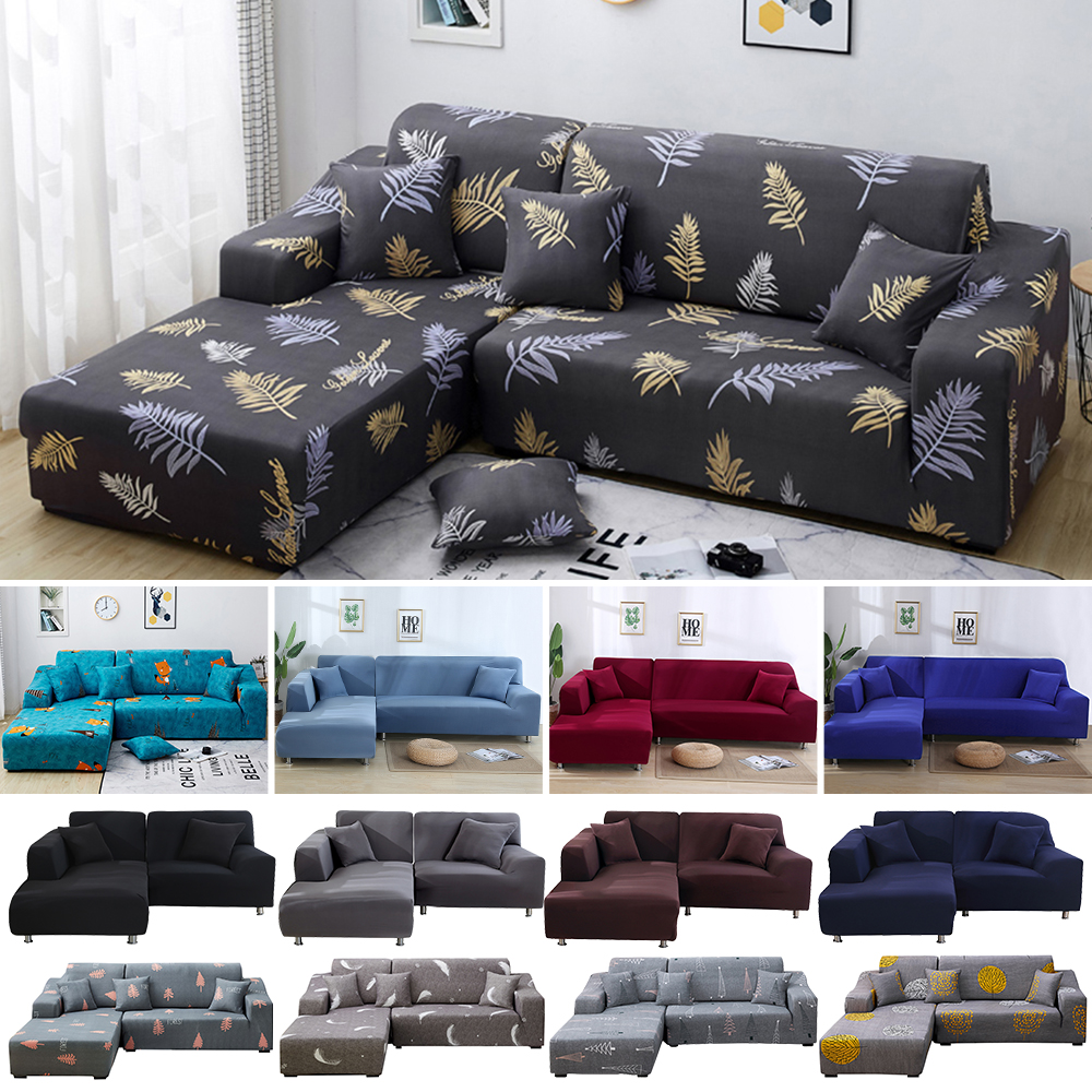 US $17.23 35% OFF|Printed L Shaped Sofa Cover Living Room 2 Pcs Stretch  Covers for Corner Sofa Slipcover Corner Sectional Chaise Longue Sofa-in  Sofa ...