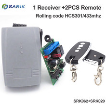 Universal 2 channel Wireless Garage Door 433MHZ DC12V/24V Rolling Code HCS301 Receiver and remote control