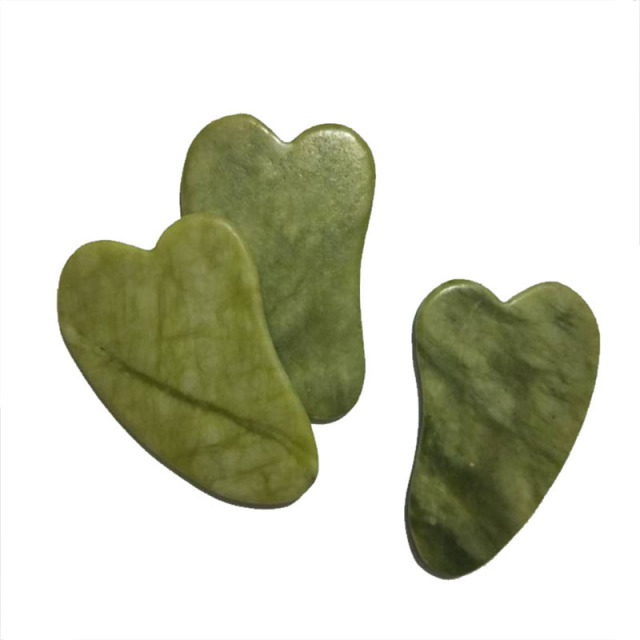 2PCS Natural Jade Roller And Jade Stone Gua Sha Massage Tool Set Face Thin Massager Scraping Board Body Relaxation Lift Tools 2