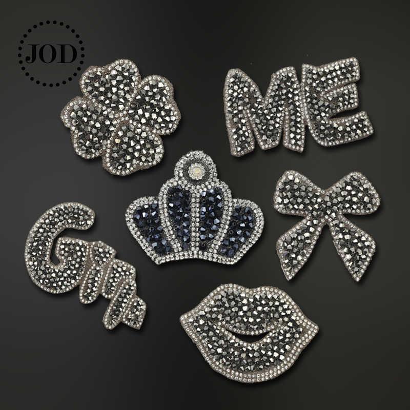 Strass Glans Kroon Ijzer op Patches voor Kleding Kraal Decoratieve Kleding Patch Crystal Applique Diamant Naaien Stickers JODc