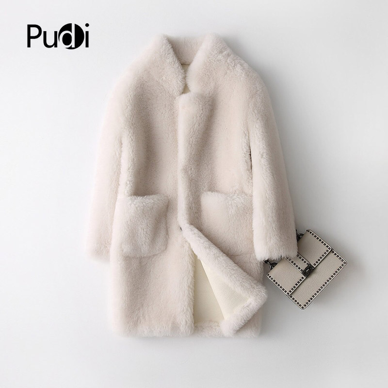 PUDI A17833  Real Wool  Fur Coat Jacket Overcoat Women's Winter Warm Genuine Fur Coat PU Leather Inside Cream Color