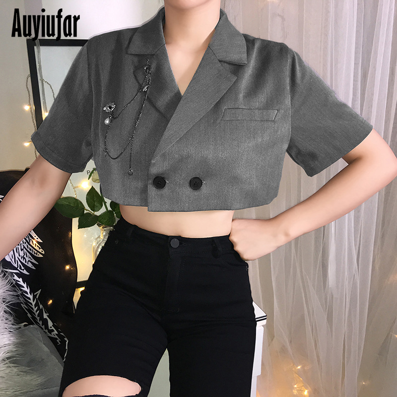 Auyiufar Black Cropped Women 39 s Suit with Chain Autumn Fashion Office Lady Female Coats Casual Button Streatwear Tops and Jackets in Jackets from Women 39 s Clothing