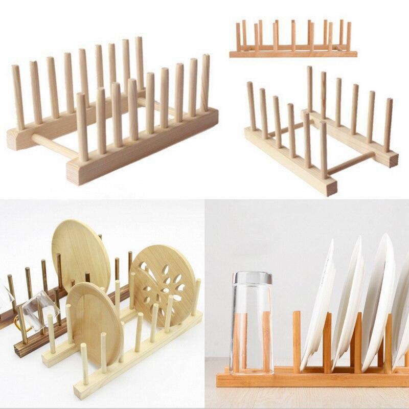 Kitchen Dish Drain Rack Dinnerware Storage Organizer Tray Plate Drying Shelf Wooden Book Cups Display Stand Drainer Holder 1