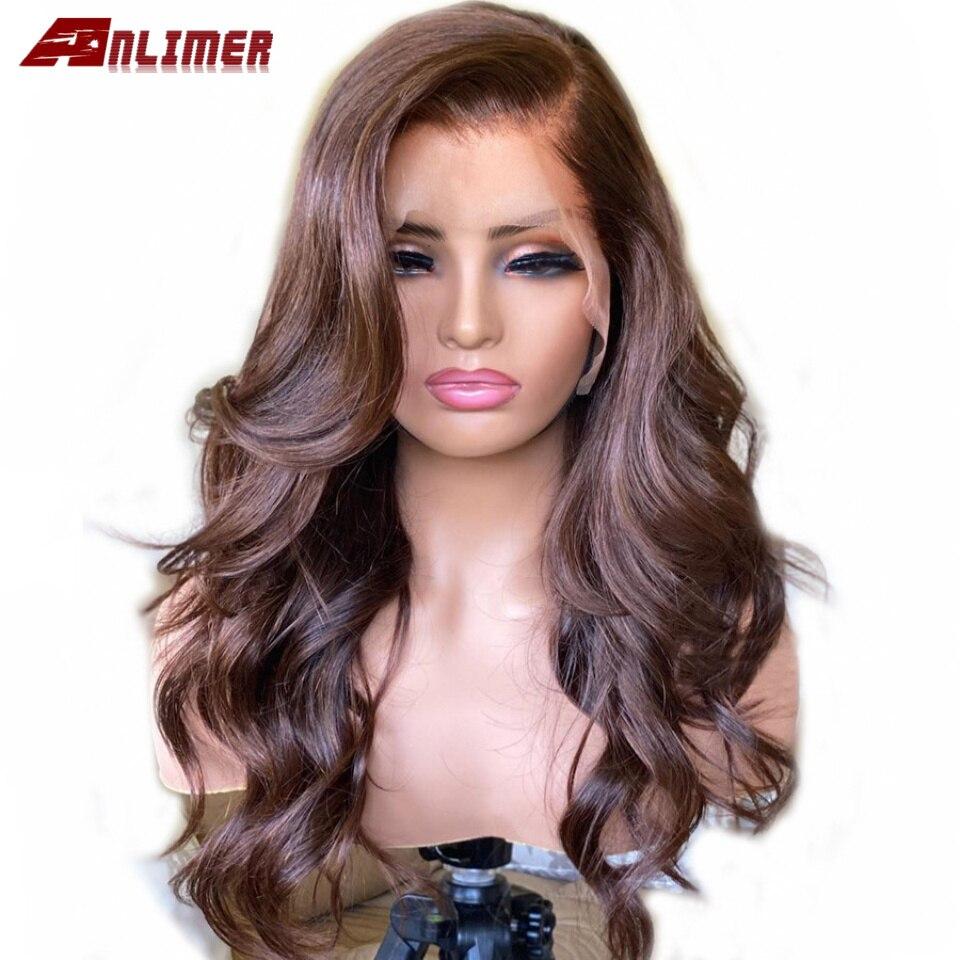 Объемная волна темно-коричневый 13x6 Синтетические волосы на кружеве парик человеческих волос парик 360 Синтетические волосы на кружеве al пар...