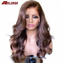 Onda do corpo marrom escuro parte esquerda peruca dianteira do laço peruano cabelo humano laço frontal peruca marrom colorido perucas da parte dianteira do laço para mulher