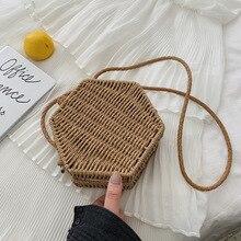 Hexagon Women Handbag Summer Beach Straw Bag Bohemia Rattan Woven Retro Shoulder Crossbody Bags Handmade Solid Color Bali Box