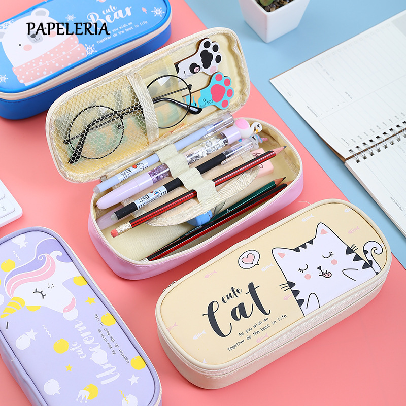 Kawaii School Cat Pencil Case For Girls School Supplies Korean Stationery Big Pencilcase Cute Unicorn Multifunctional Pencil Box