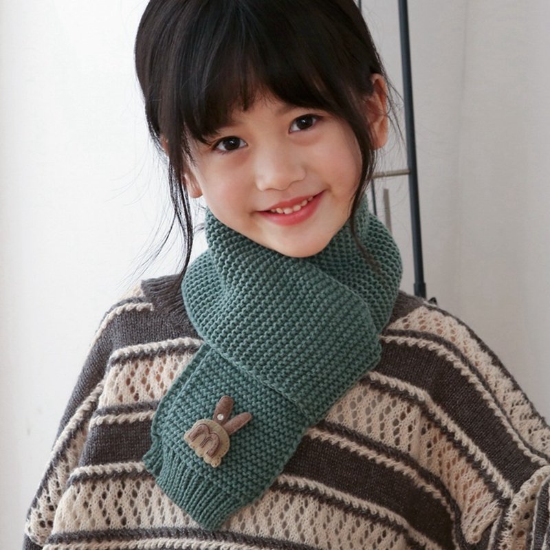 Baby Girls Boys Scarf Cute Cartoon Rabbit Kids Knitting Scarf Autumn Winter 12 Colors Children Neck Warmer Clothing Accesories