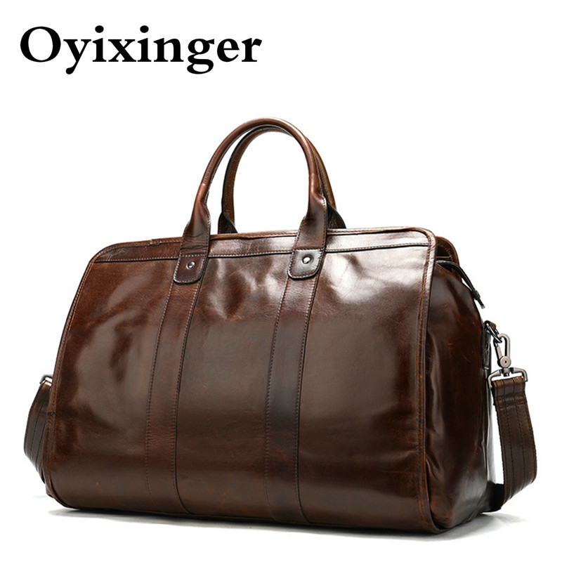 Vintage Classic Briefcase Genuine Natural Leather Bags Men's Travel 15.6 Inch Laptop Bag Man Office Handbag Business Portafolio