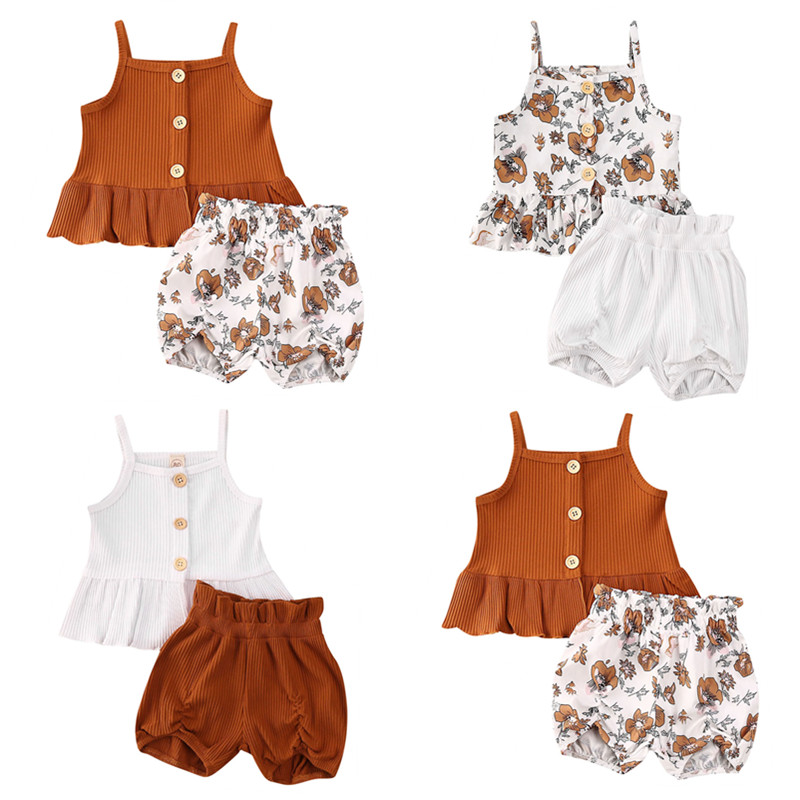 Pudcoco US Stock 1-5 Years 3Styles 2Pcs Girl Clothing Kids Baby Girl Strap Ruffle Tops Flower Shorts Casual Clothes Sunsuit