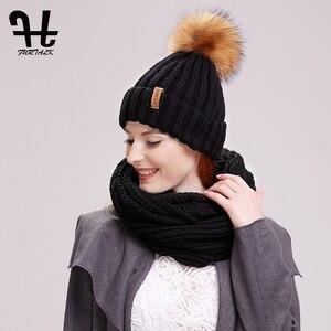 Image 3 - FURTALK 冬ビーニー帽子とスカーフセット女性の秋だらしない帽子インフィニティスカーフ帽子ニット Skullies ビーニー帽子のための女の子