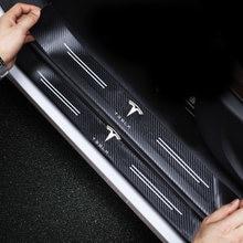 4 шт для tesla model s 3 x y узор из углеродного волокна защитные