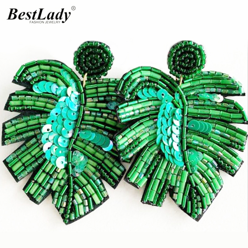 Best Lady Boho Handmade Beaded Jewelry Leaf Pendant Earrings For Women New Design Wedding Jewelry Korean Drop Dangle Earring