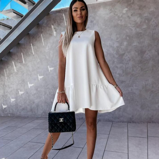 Summer Women Mini Dress Casual Loose Beach Party Dress Big Ruffle Sleeveless Sundress Female 2021 Fashion Oversize Hem Dresses 1