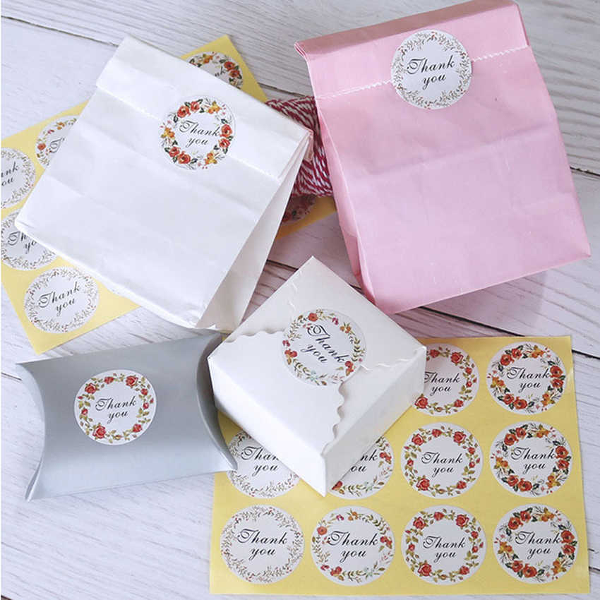 120pcs/lot  4 Color 'Thank You' Stickers Small Fresh Flower Sealing Sticker DIY Gift Product Sealing Label Sticker