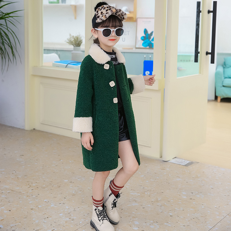 Girls Fur Coat Cuhk Integrated Children's Imitation Fur Coat Deerskin Topcoat of New Fund of 2019 Autumn Winters Is Long